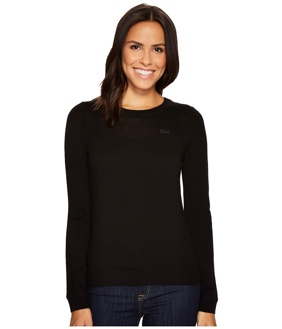 Lacoste Crew Neck Wool Sweater (Black) Women