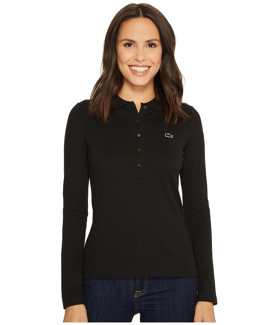 Lacoste - Long Sleeve Pique Polo (Black) Womens Clothing
