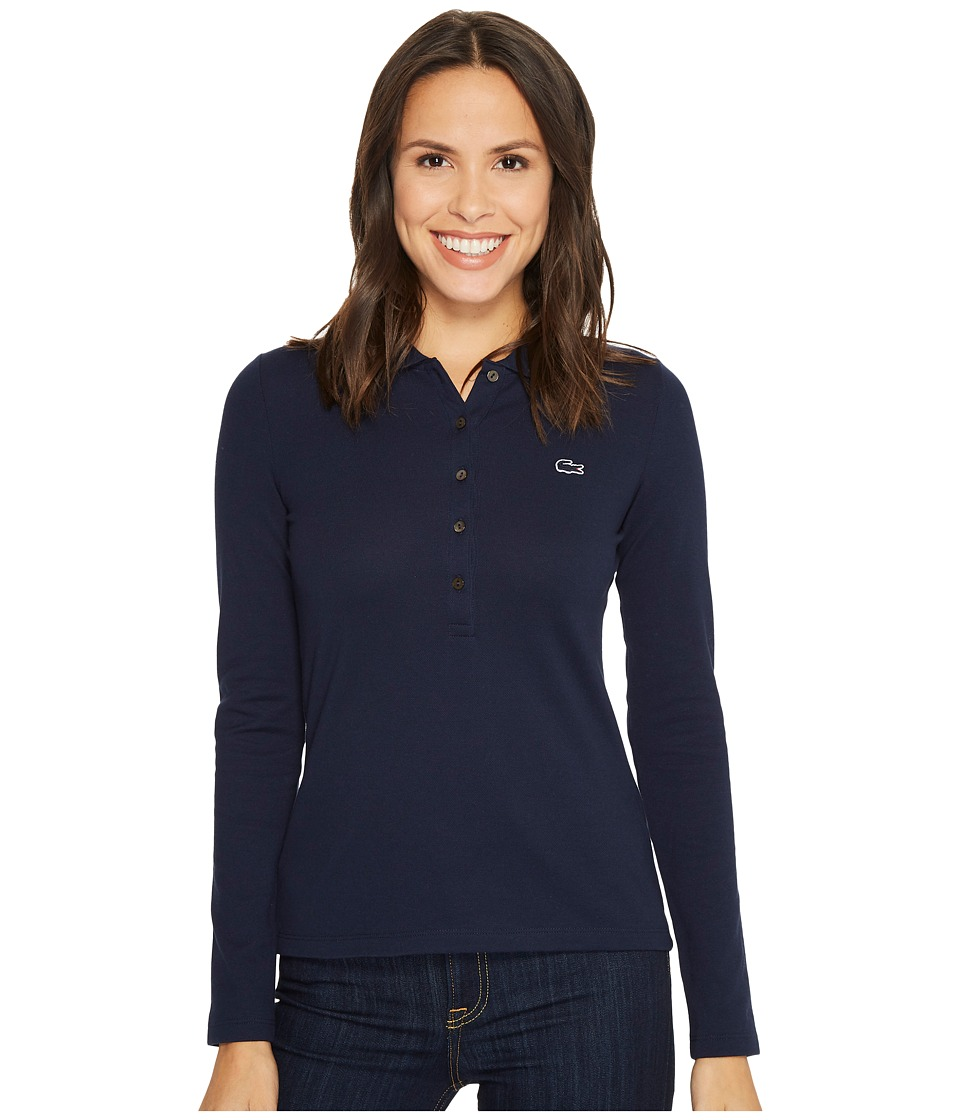 Lacoste Long Sleeve Pique Polo (Navy Blue) Women's Clothing