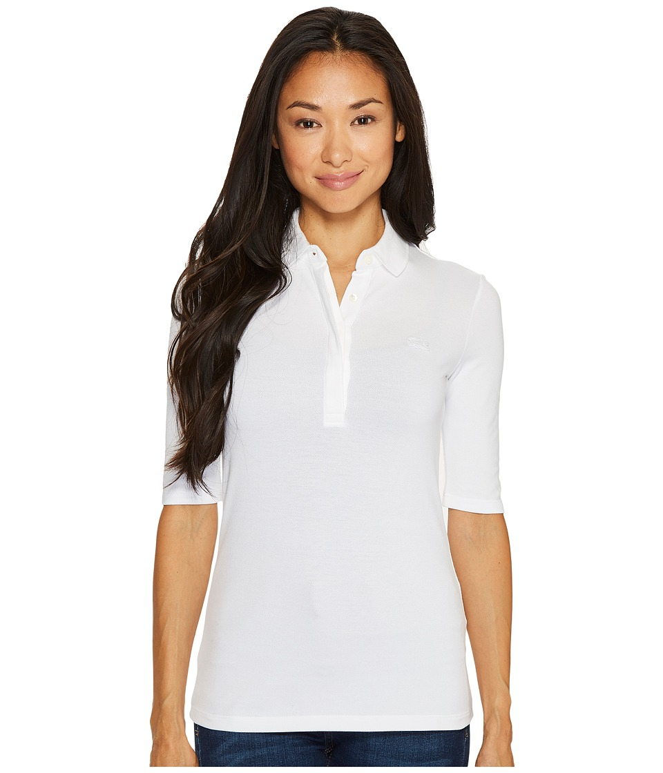 Lacoste - 1/2 Sleeve Slim Fit Stretch Pique Polo (White) Womens Clothing