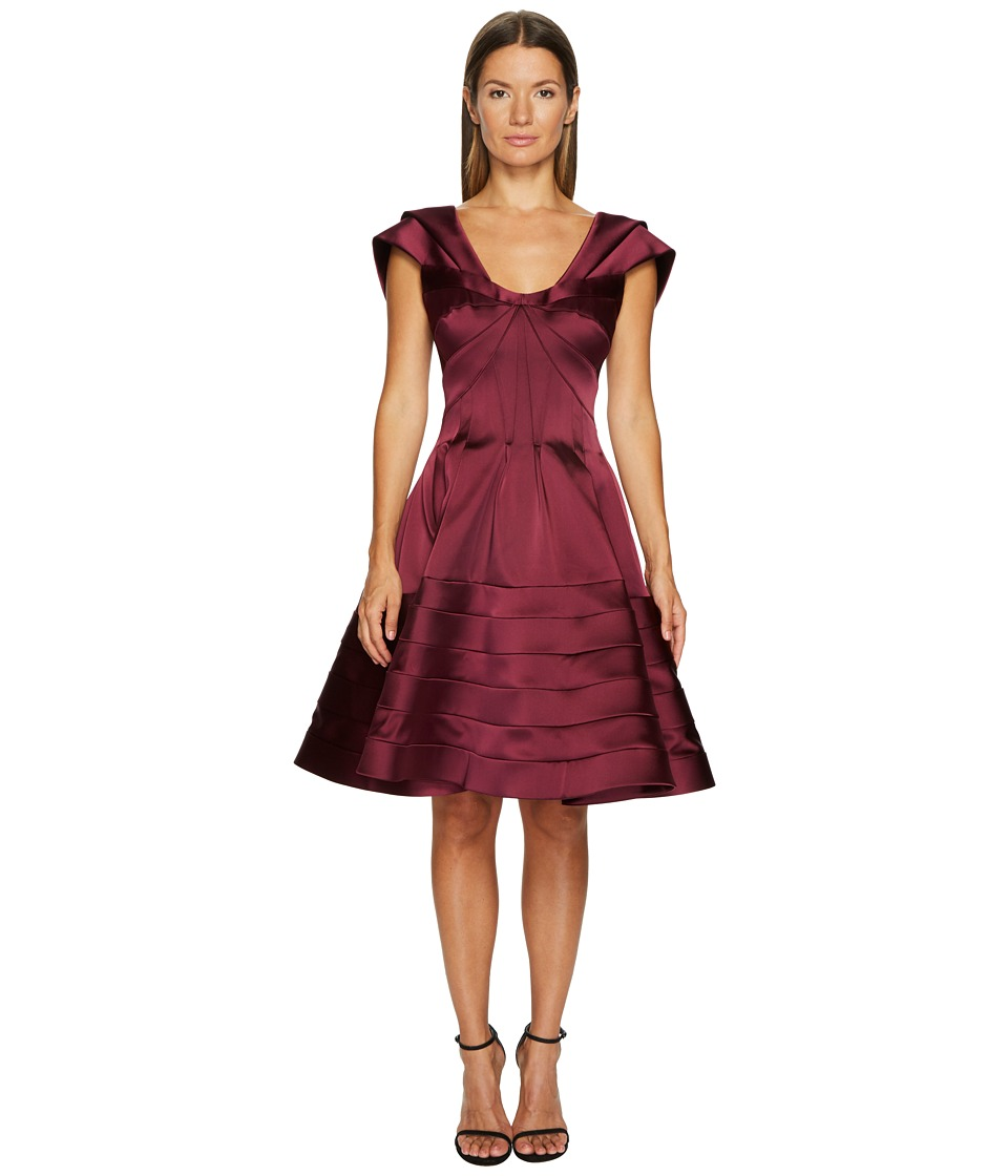 Zac Posen Stretch Satin Fit and Flare Dress (Wine Red) Women