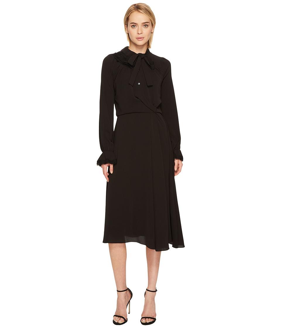 Zac Posen Crepe Embroidery Long Sleeve Dress (Black) Women