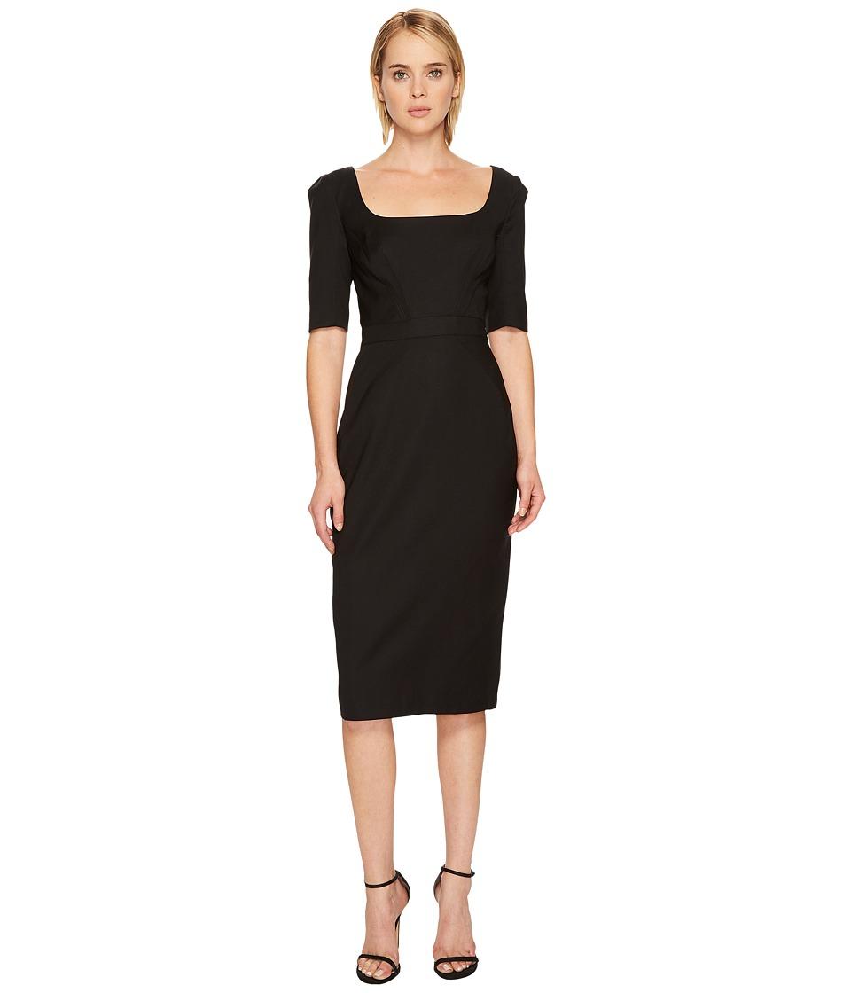 Zac Posen Tropical Wool Short Sleeve Scoop Neck Dress (Black) Women