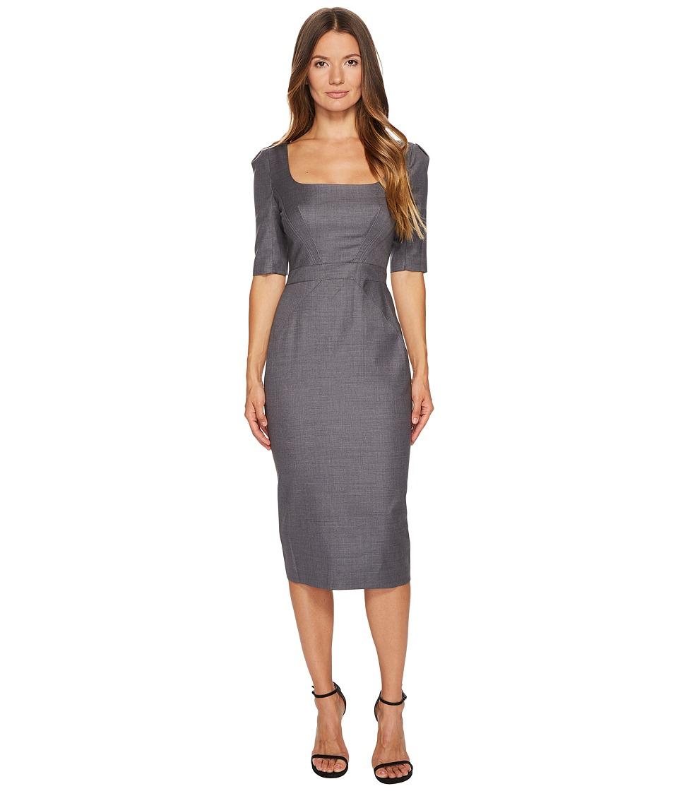 Zac Posen Tropical Wool Short Sleeve Scoop Neck Dress (Grey Melange) Women
