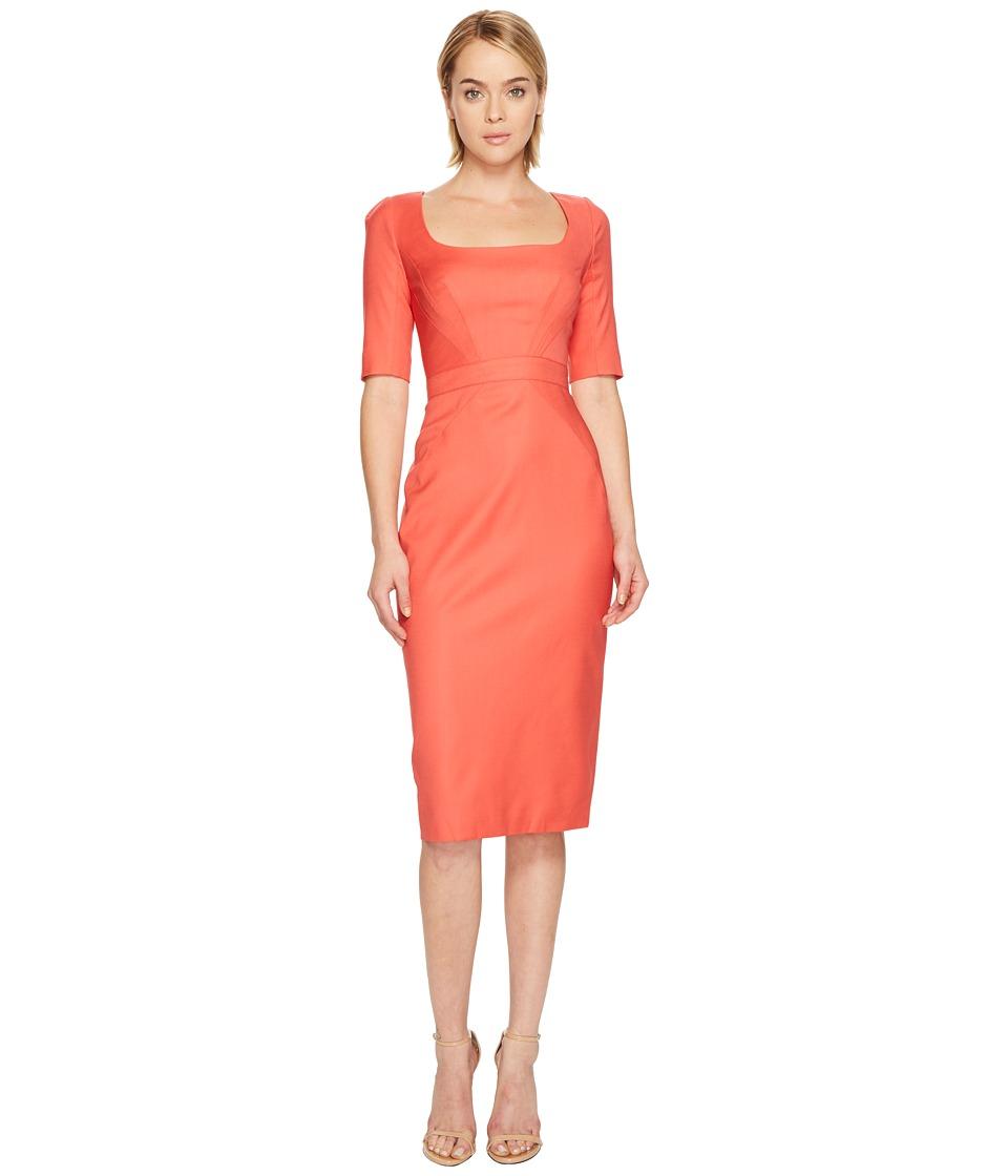 Zac Posen Tropical Wool Short Sleeve Scoop Neck Dress (Apricot) Women