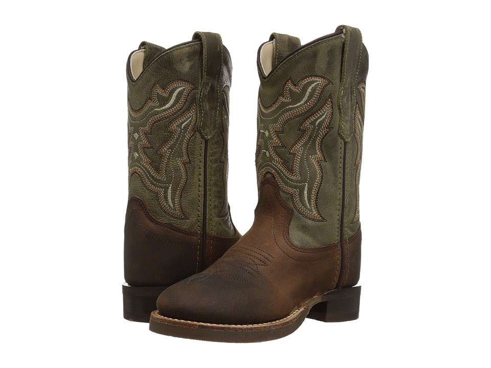 Old West Broad Round Toe (Toddler/Little Kid) (Brown) Cowboy Boots
