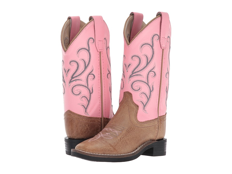 Old West Broad Square Toe (Toddler/Little Kid) (Tan Fry) Cowboy Boots