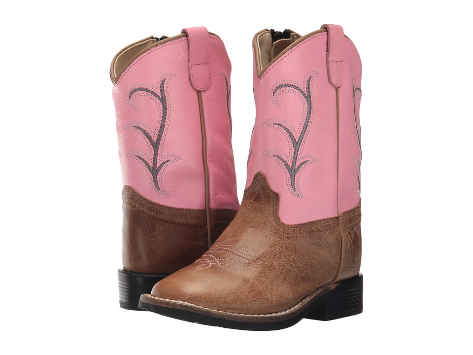Old West Broad Square Toe (Toddler) (Tan Fry) Cowboy Boots