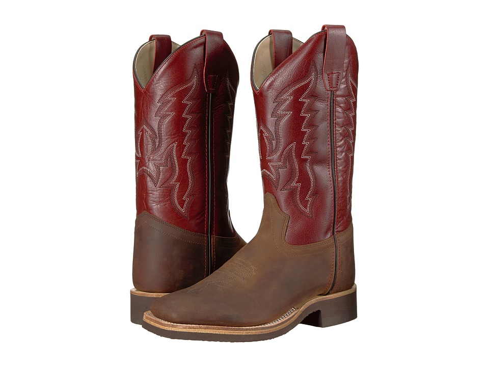 Old West Broad Square Toe Crepe (Big Kid) (Brown) Cowboy Boots