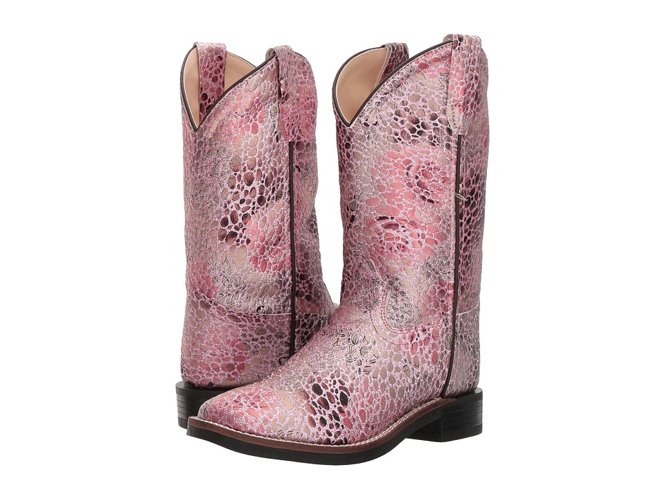 Old West Square Toe Leatherette (Toddler/Little Kid) (Antique Pink) Cowboy Boots