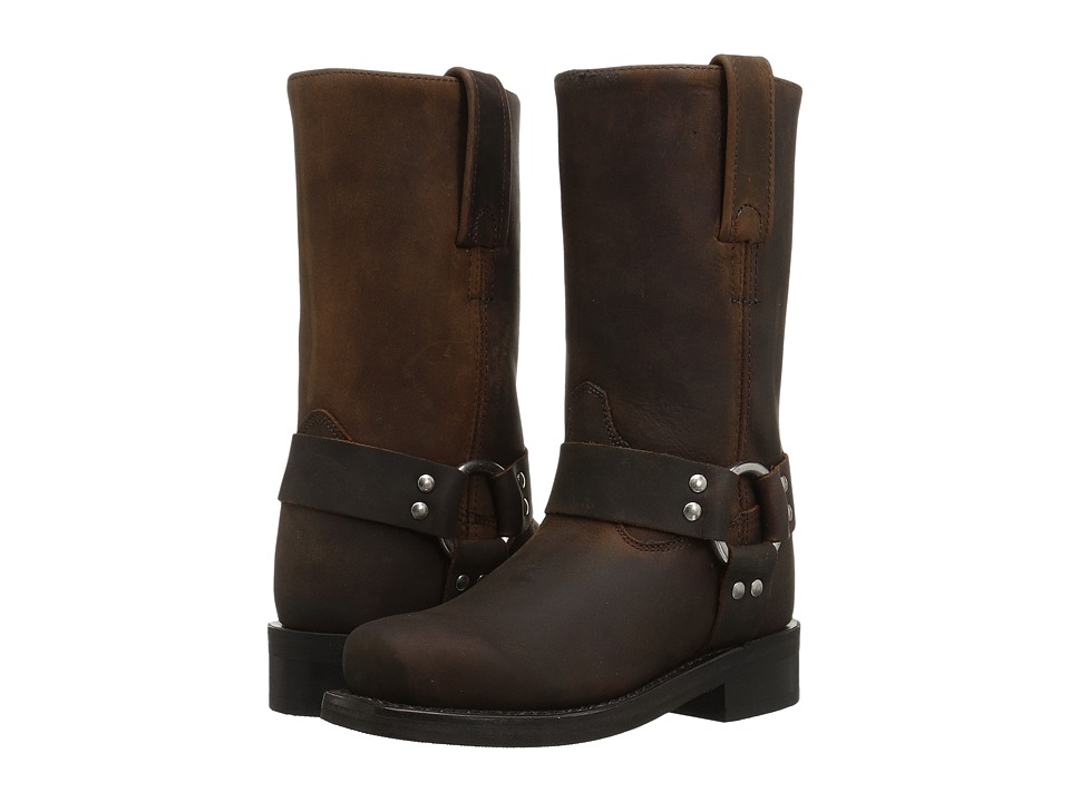 Old West Square Toe Harness (Toddler/Little Kid) (Brown) Cowboy Boots