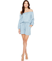 TWO by Vince Camuto - Long Sleeve Off the Shoulder Indigo Tencel Romper