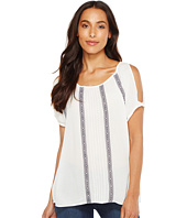 TWO by Vince Camuto - Embroidered Crinkle Gauze Cold Shoulder Blouse