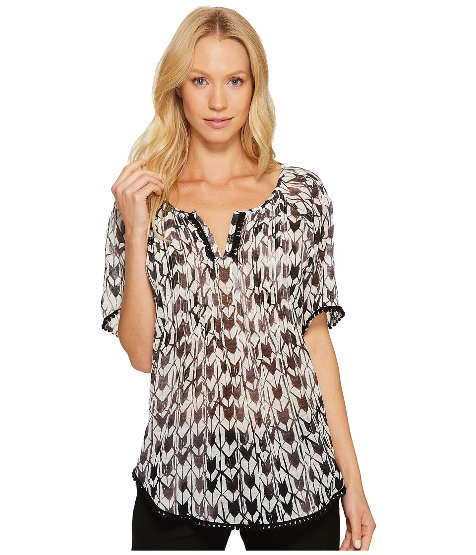 TWO by Vince Camuto - Geo Daydream Tassel Trim Pintuck Blouse