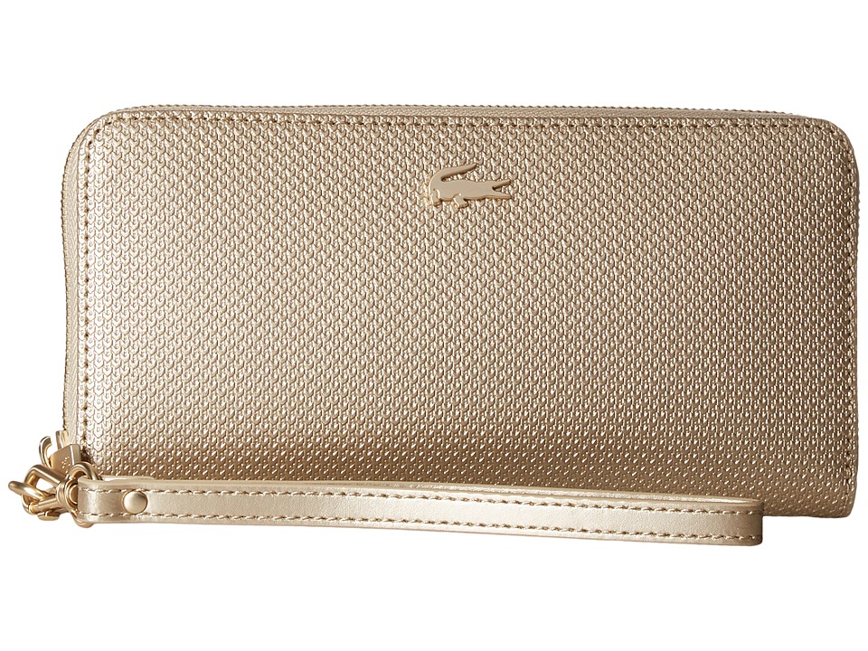 Lacoste - Chantaco Holidays Large Wristlet Zip Wallet (Rich Gold) Wallet Handbags