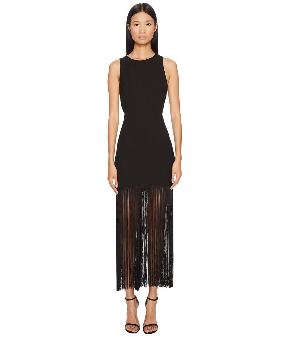 Prabal Gurung Polycrepe Sleeveless Fringe Dress (Black) Women