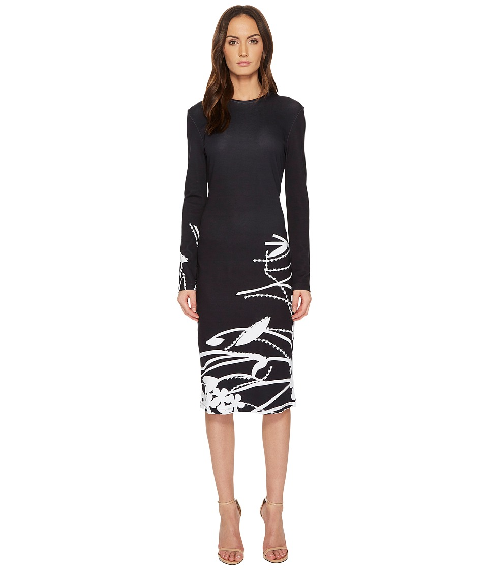 Prabal Gurung - Printed Viscose Long Sleeve Dress (Black/...