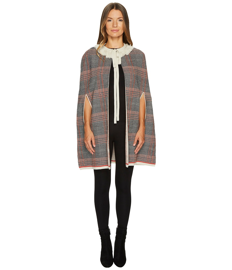 Sonia Rykiel - Check Woolsilk Cape (Multi Pink) Womens Coat