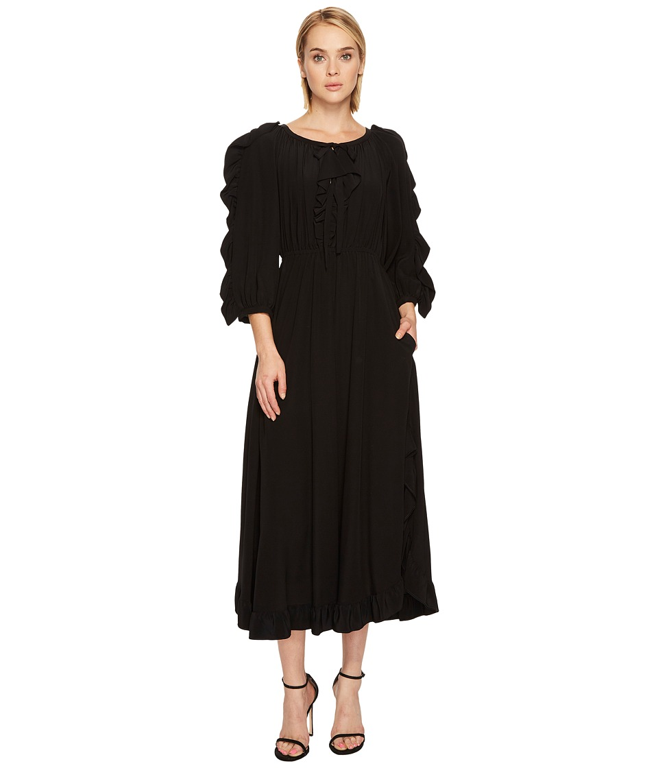 Sonia Rykiel - Crepe De Chine Volants Dress (Black) Womens Dress