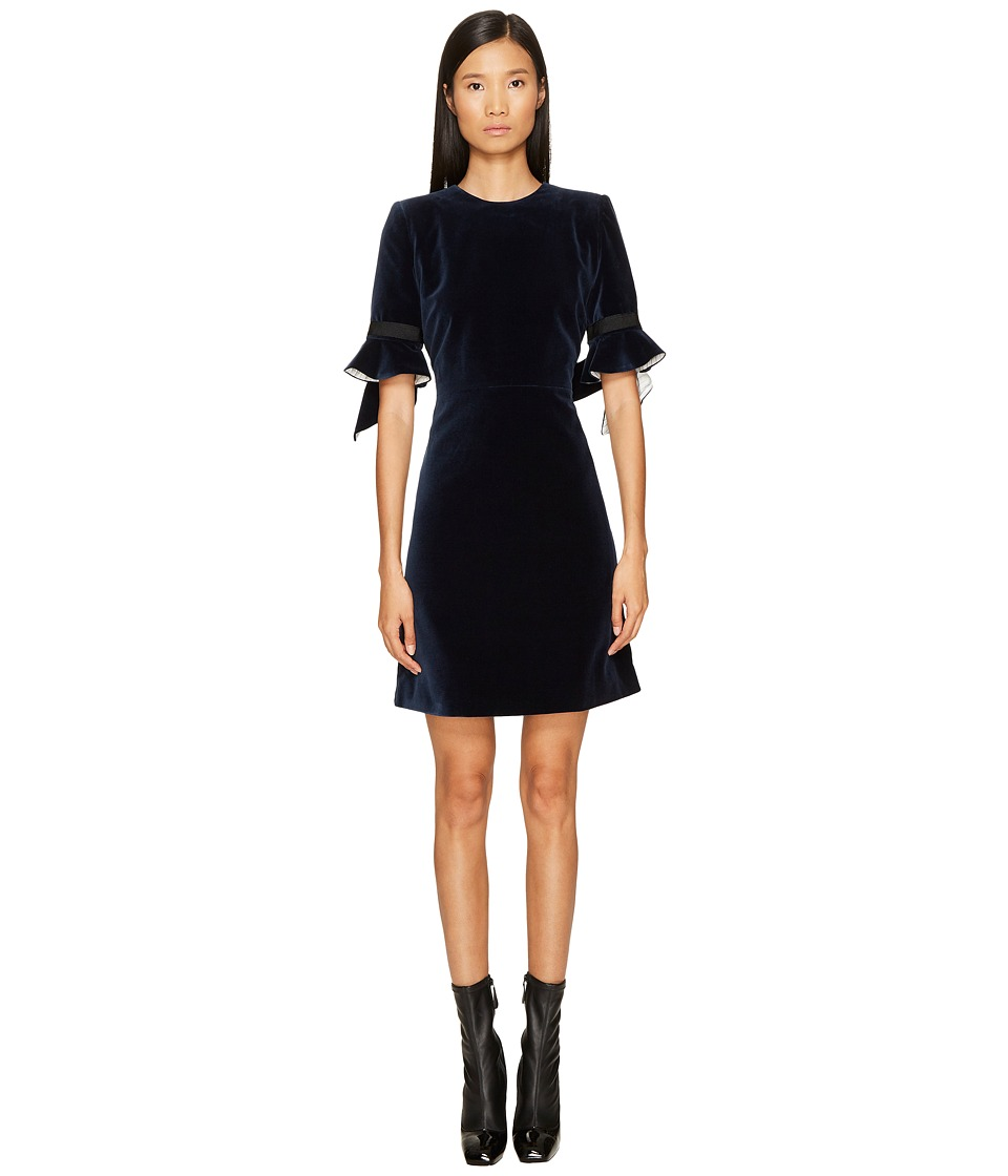 Sonia Rykiel - Velvet Short Sleeve Dress (Marine) Womens Dress