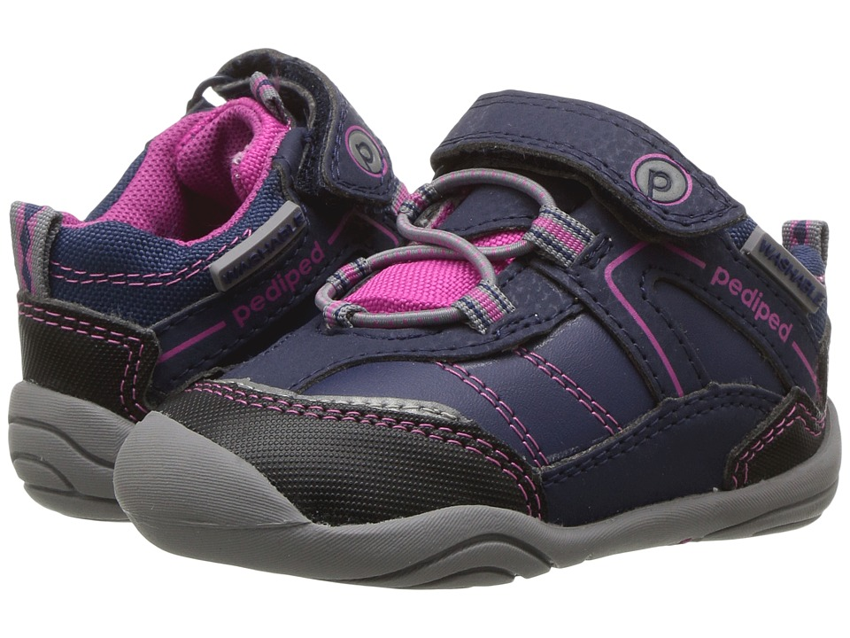 pediped Max Grip n Go (Toddler) (Navy/Pink) Girl's Shoes