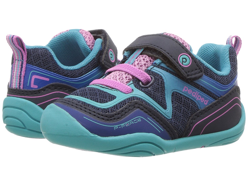 pediped Force Grip n Go (Toddler) (Navy/Sky) Girl's Shoes