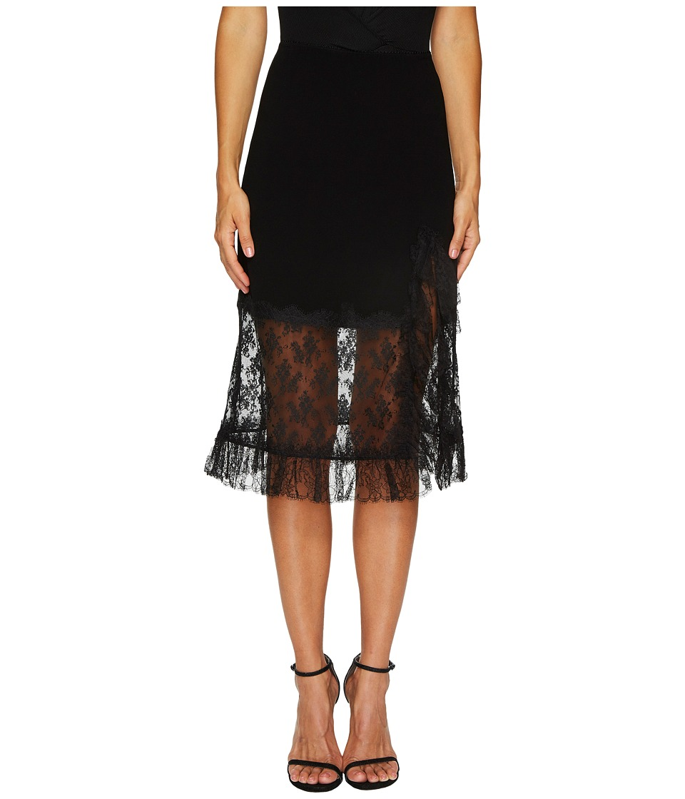 Sonia Rykiel - Crepe Satin Dentelle Skirt (Black) Womens Skirt