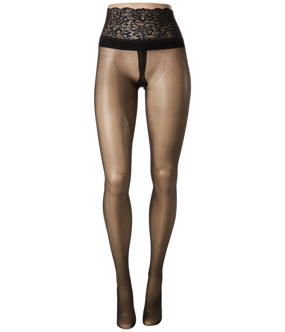 Commando - Sexy Sheers with Lace Waistband H10T14 (Black) Sheer Hose