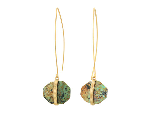 LAUREN Ralph Lauren Stone with Textured Metal Drop Earrings - Gold/Turquoise