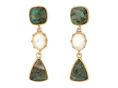 LAUREN Ralph Lauren Linear Stone Drop Earrings - Gold/Multi