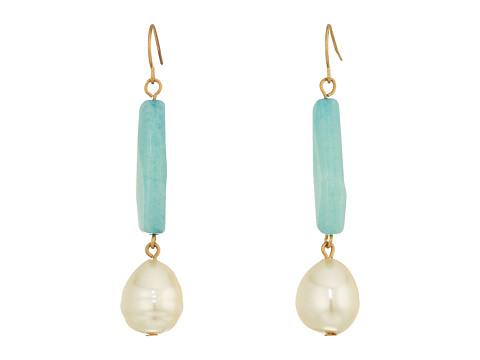 LAUREN Ralph Lauren Linear Bead with Pearl Teardrop Earrings - Gold/Multi
