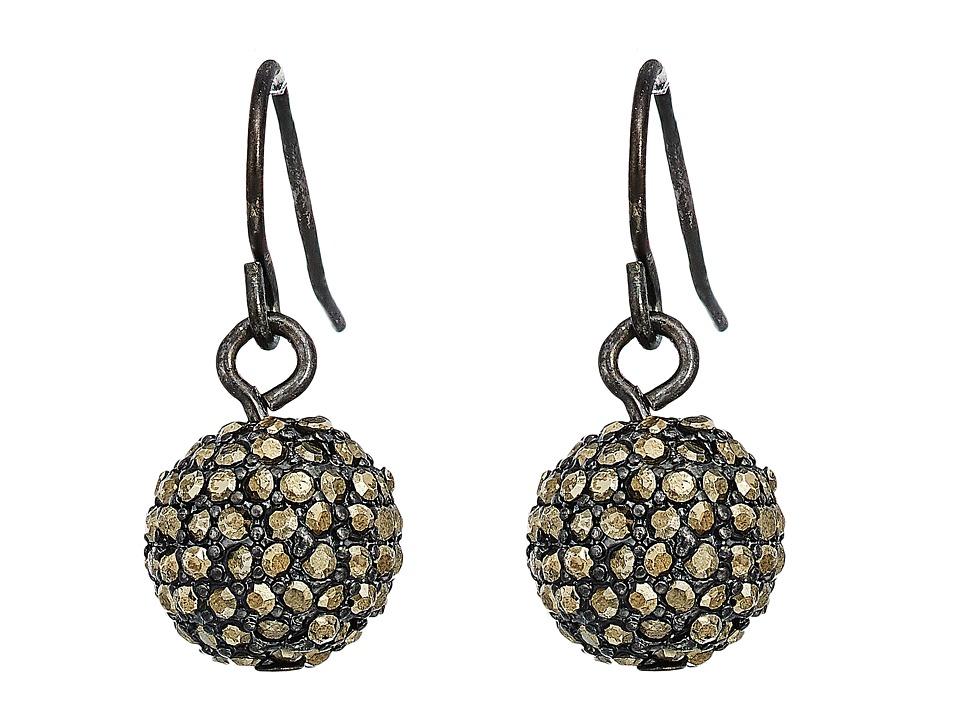 Ralph Lauren Pave Ball Drop Earrings (Hematite/Jet/Pyrite...