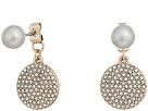 LAUREN Ralph Lauren Fresh Water Pearl with Pave Disc Drop Earrings