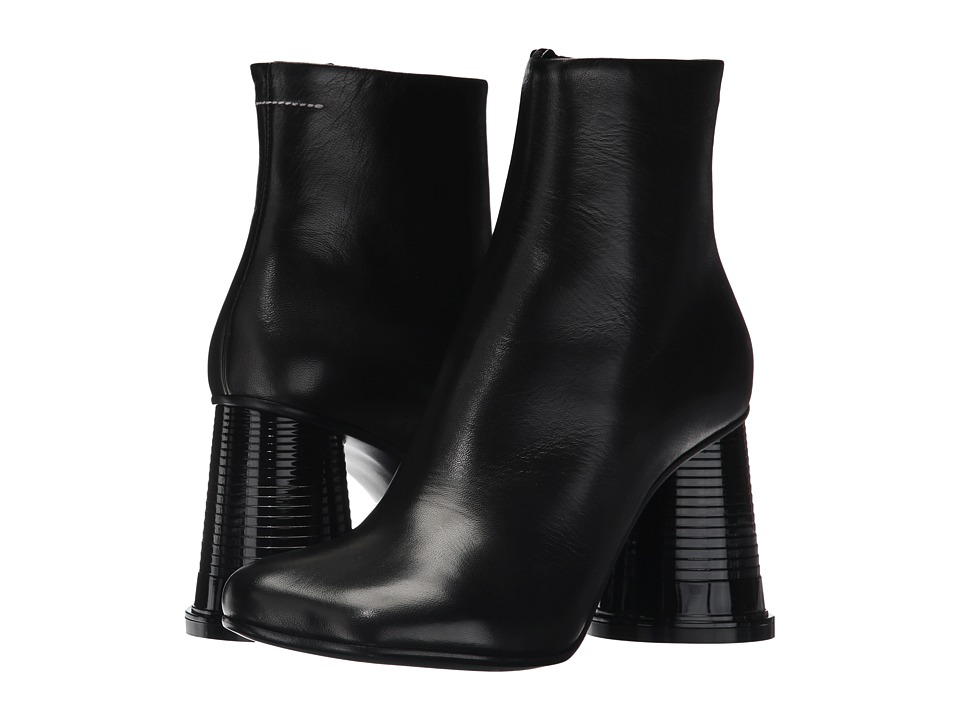 MM6 Maison Margiela - Hollow Cup Heel Boot (Black Nappa) Womens Boots