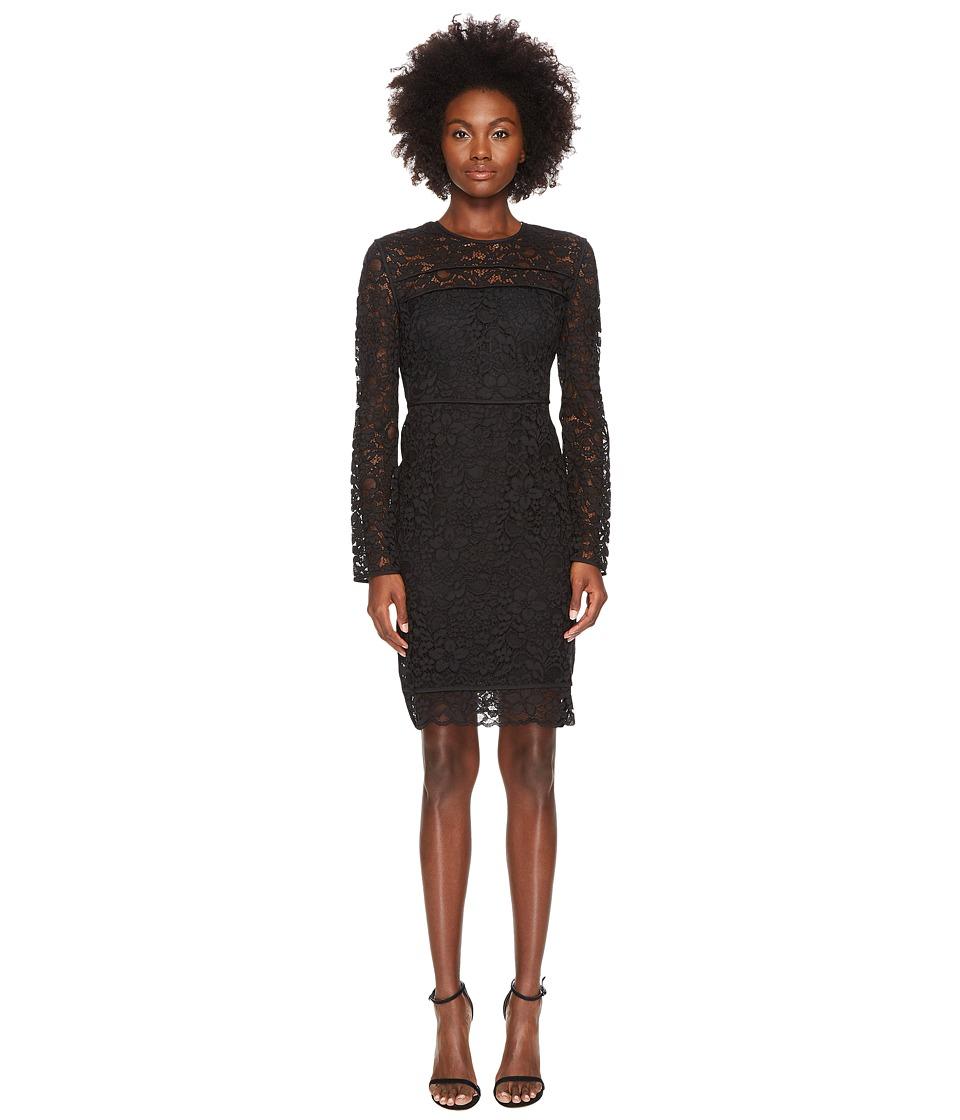 Sportmax - Nancy Long Sleeve Lace Dress (Black) Womens Dress