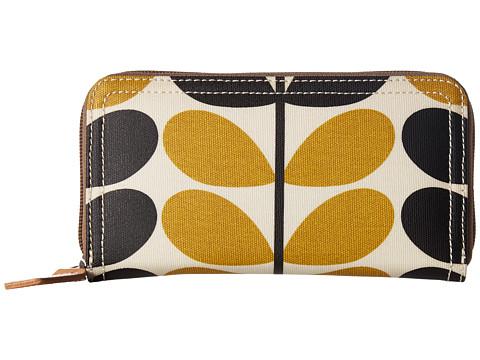 Orla Kiely Stem Check Print Big Zip Wallet - Dandelion