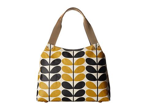 Orla Kiely Stem Check Print Classic Zip Shoulder Bag - Dandelion