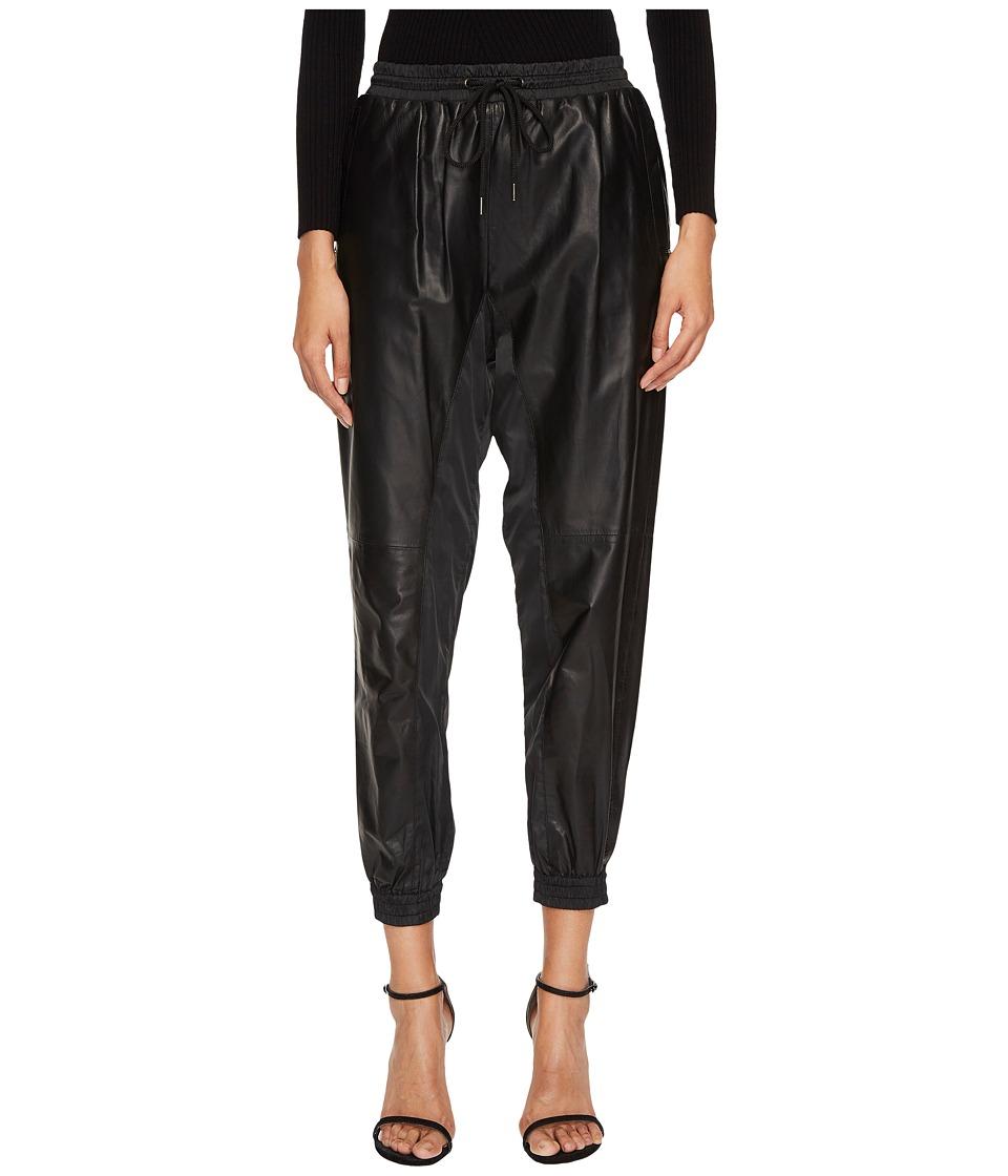 Sportmax Umbro Leather Joggers (Black) Women's Clothing