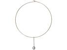LAUREN Ralph Lauren 16 Pave Bar and Fresh Water Pearl Pendant Hard Disc Collar Necklace