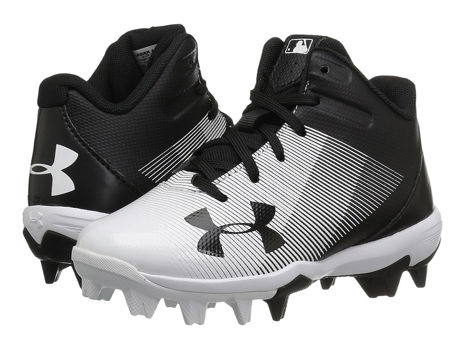 Under Armour Kids Leadoff Mid RM Jr. Baseball (Toddler/Little Kid/Big Kid) (Black/White) Kids Shoes