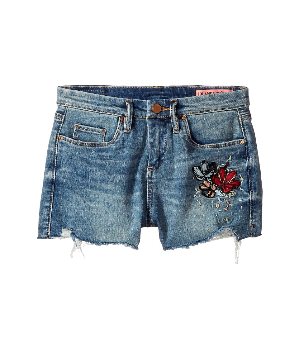 Blank NYC Kids - High-Rise Shorts w/ Embroidery in Blue