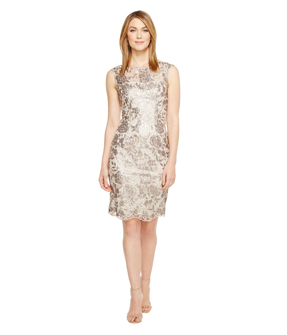 Adrianna Papell - Floral Sequin Embroidered Sheath Dress (Light Mink) Womens Dress