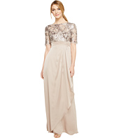 Adrianna Papell - Floral Sequin Embroidered Drape Gown