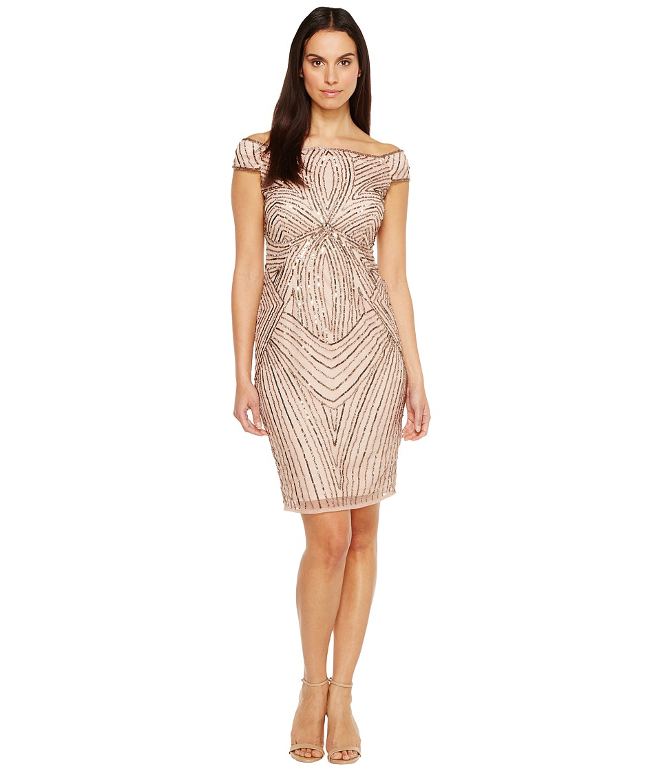 Adrianna Papell - Off the Shoulder Swirl Beaded Cocktail Dress