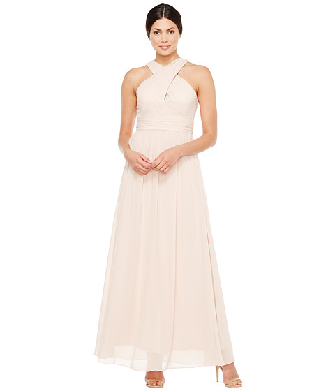 Adrianna Papell Halter Chiffon Open Back Gown