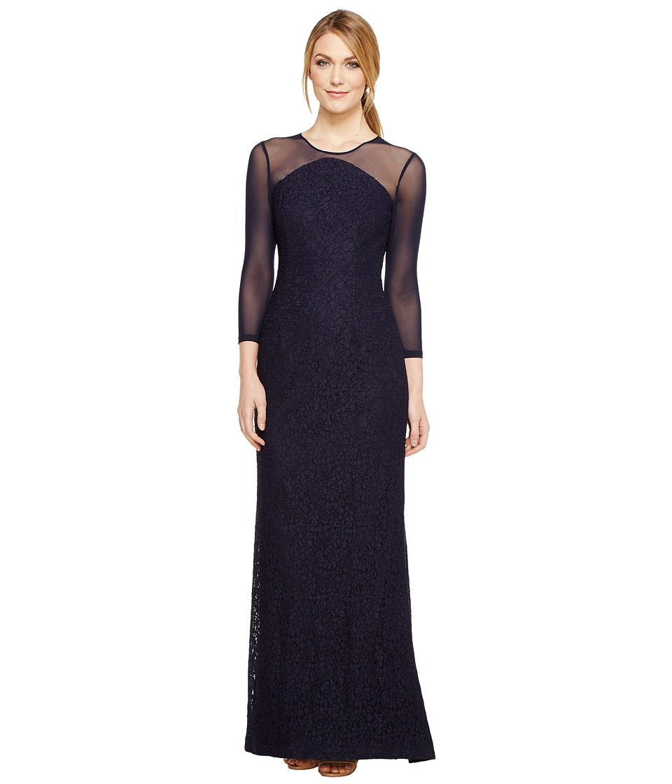 Adrianna Papell - Lace Modified Mermaid Gown (Navy) Womens Dress