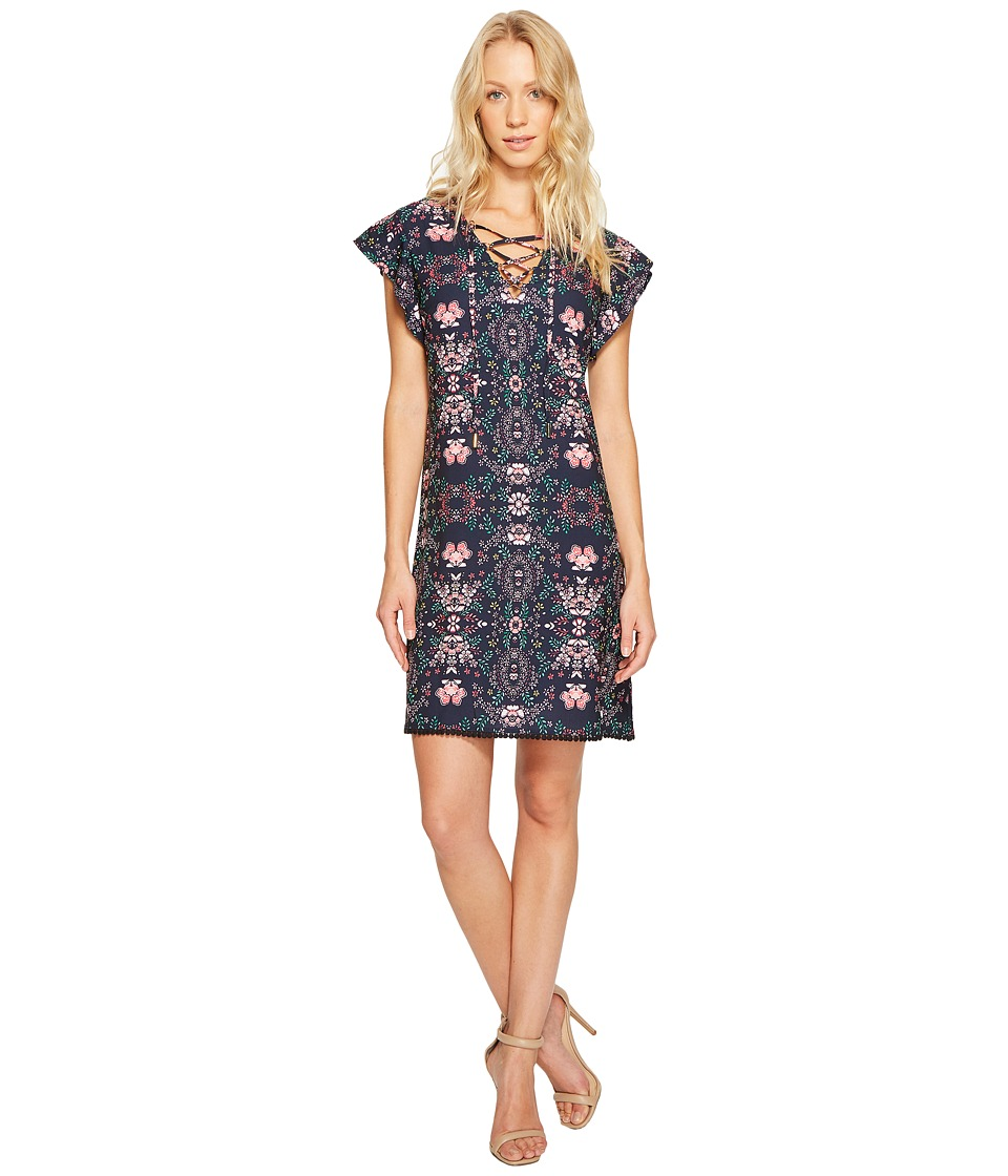 Jessica Simpson Printed Lace-Up Dress JS7A9420 (Print) Women