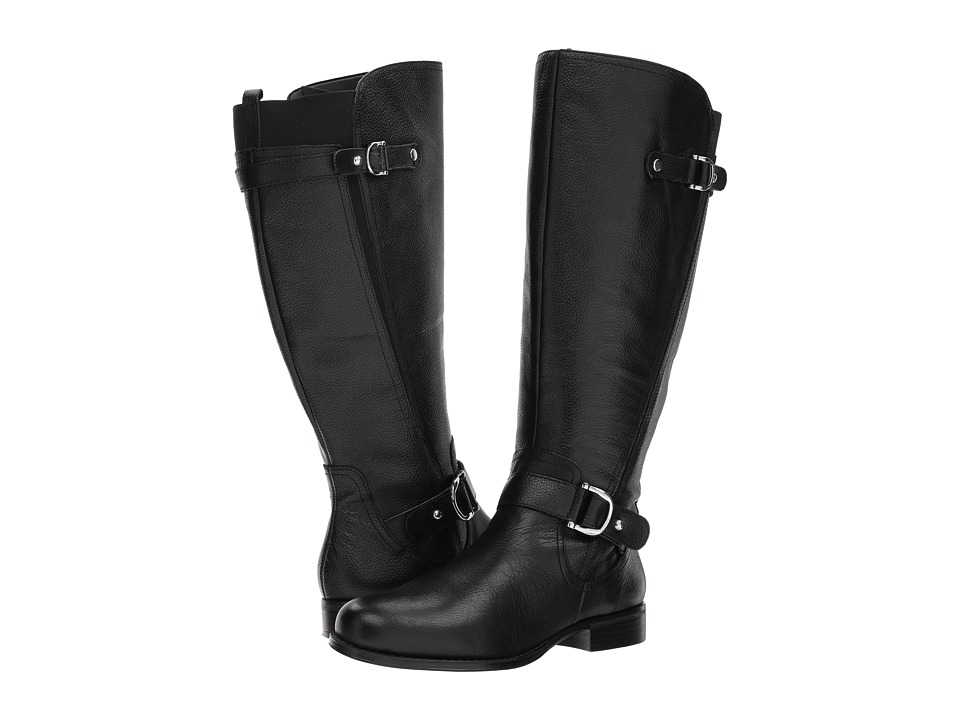 Naturalizer Jenelle Wide Calf (Black Tumbled Leather) Women