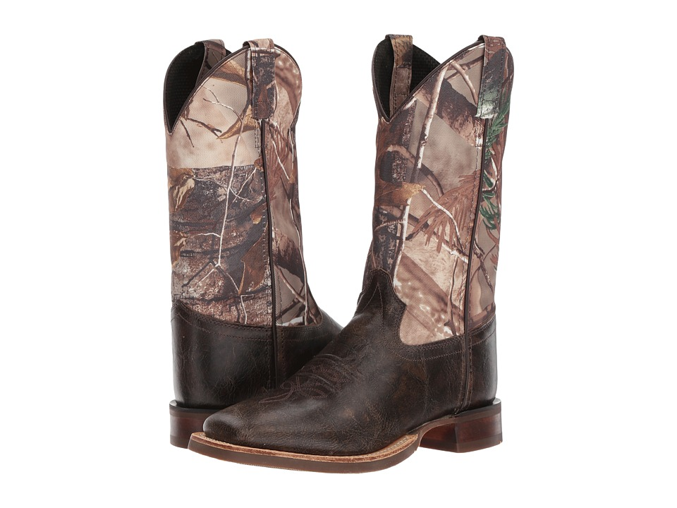 Old West Broad Square Toe (Big Kid) (Chocolate) Cowboy Boots