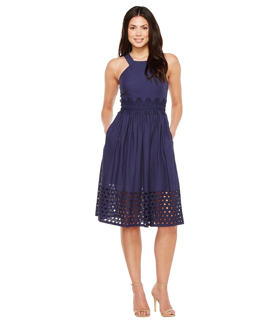 Vince Camuto Cotton Eyelet Sleeveless Fit and Flare Midi Dress (Navy) Women